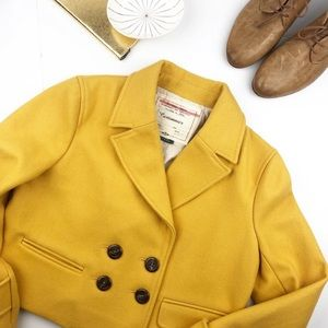 Anthropologie Cartonnier yellow wool cropped coat